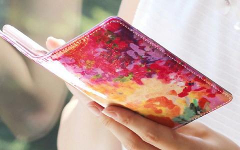 花柄レディース革財布